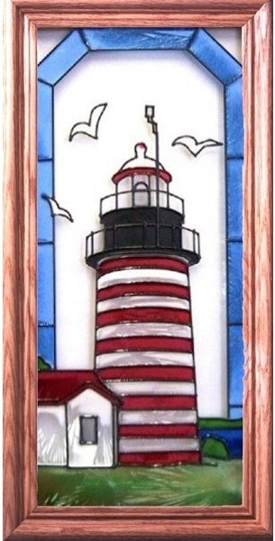 Artistic Gifts Art Glass C142 West Quoddy Head ME Vertical Panel