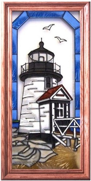 Artistic Gifts Art Glass C143 Brant Point Nantucket MA Vertical Panel