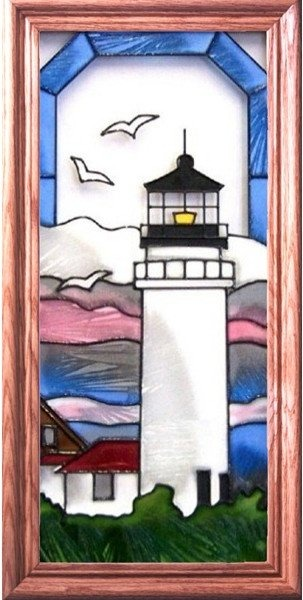 Artistic Gifts Art Glass C148 Cape Cod Light MA Vertical Panel