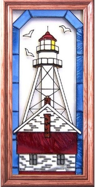 Artistic Gifts Art Glass C151 Whitefish Point MI Vertical Panel