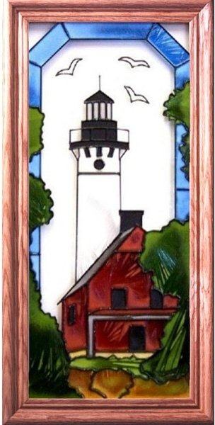 Artistic Gifts Art Glass C154 AuSable Point MI Vertical Panel