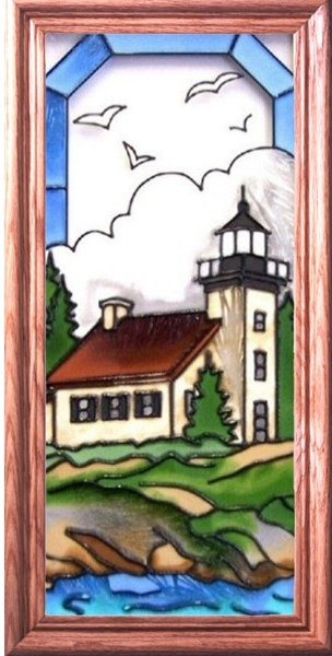 Artistic Gifts Art Glass C155 Copper Harbor MI Vertical Panel