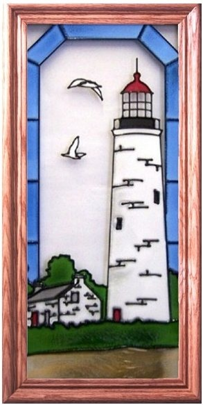 Artistic Gifts Art Glass C157 Chantry Island Canada Vertical Panel