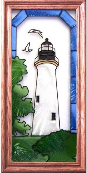 Artistic Gifts Art Glass C159 Port Isabel TX Vertical Panel
