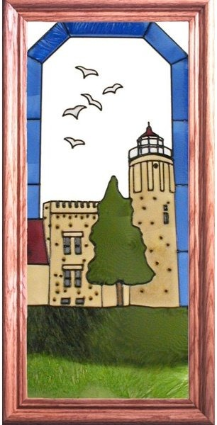 Artistic Gifts Art Glass C169 Old Mackinac Point MI Vertical Panel