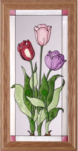 Silver Creek Art Glass C181 Tulip Trio Vertical Panel