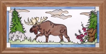 Artistic Gifts Art Glass C190 Moose In Meadow Horizontal Panel