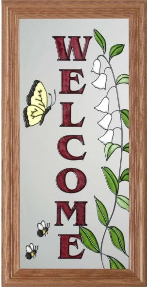 Artistic Gifts Art Glass C212 Lily-of-the-Valley Vertical Panel
