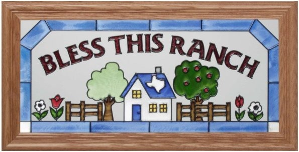 Artistic Gifts Art Glass C221 Bless this Ranch Horizontal Panel
