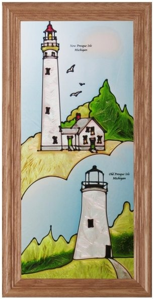 Artistic Gifts Art Glass C251 MI Presque Isle Panel