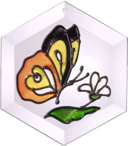 Artistic Gifts Art Glass E004 Monarch Hex Suncatcher