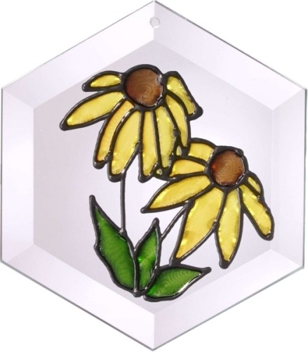 Silver Creek Art Glass E018 Black eyed Susan Hex Suncatcher