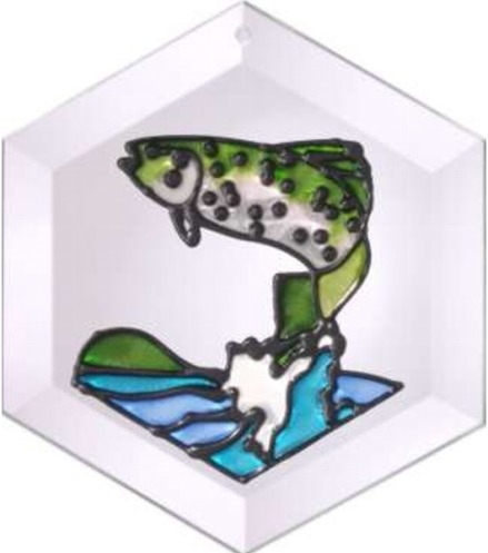 Artistic Gifts Art Glass E059 Trout Hex Suncatcher