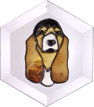 Artistic Gifts Art Glass EW098 Basset Hound Hex Suncatcher