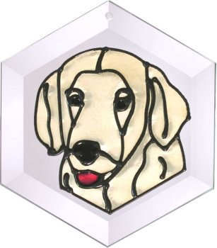Artistic Gifts Art Glass EW104 Golden Retriever I Hex Suncatcher