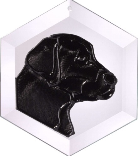 Artistic Gifts Art Glass EW131B Labrador Retriever I Black Hex Suncatcher