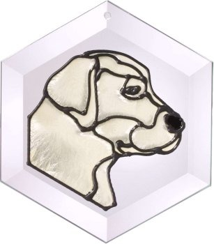 Artistic Gifts Art Glass EW131Y Labrador - Yellow Hex Suncatcher