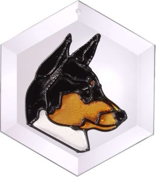 Artistic Gifts Art Glass EW132 Basenji 1 Hex Suncatcher