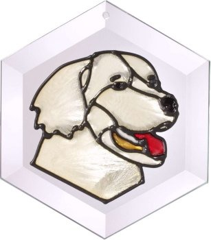 Artistic Gifts Art Glass EW140 Golden Retriever II Hex Suncatcher Glass Made in the USA $18.99