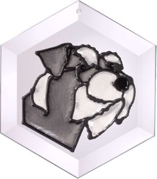 Artistic Gifts Art Glass EW144N Schnauzer natural Hex Suncatcher