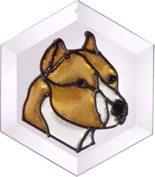 Artistic Gifts Art Glass EW145 Pit Bull cropped Hex Suncatcher