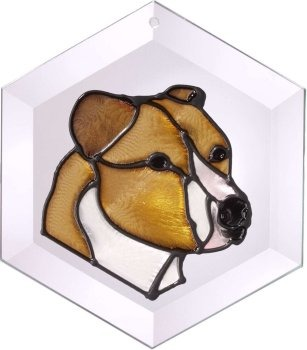 Artistic Gifts Art Glass EW151 Pit bull natural Hex Suncatcher Glass Made in the USA $18.99