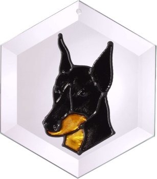 Artistic Gifts Art Glass EW155 Doberman cropped Hex Suncatcher Glass Made in the USA $18.99