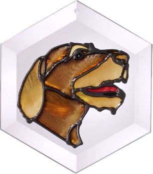 Artistic Gifts Art Glass EW156 German WH Pointer Hex Suncatcher Glass Made in the USA $18.99