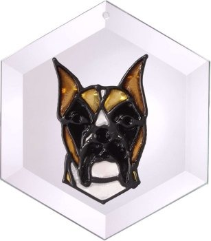 Artistic Gifts Art Glass EW166C Boxer with cropped ears Hex Suncatcher