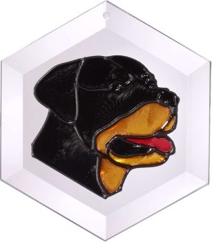 Artistic Gifts Art Glass EW167 Rottweiler Hex Suncatcher Glass Made in the USA $18.99