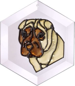 Artistic Gifts Art Glass EW168 Shar Pei Hex Suncatcher