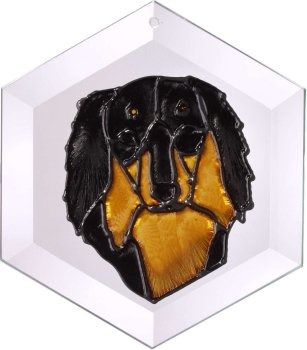 Artistic Gifts Art Glass EW169 Dachshund Long Hair Hex Suncatcher Glass Made in the USA $18.99