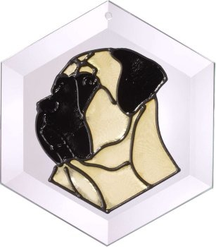 Artistic Gifts Art Glass EW177 Mastiff Hex Suncatcher Glass Made in the USA $18.99