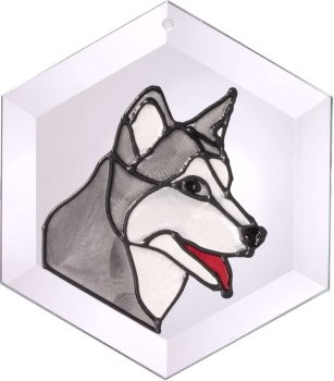 Artistic Gifts Art Glass EW179 Siberian Husky Hex Suncatcher