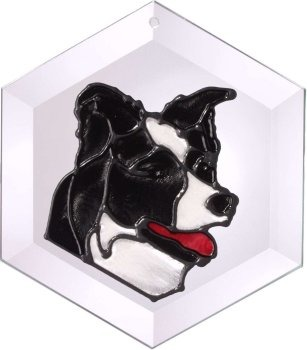 Artistic Gifts Art Glass EW180 Border Collie Hex Suncatcher Glass Made in the USA $18.99