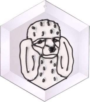 Artistic Gifts Art Glass EW181W Poodle white Hex Suncatcher
