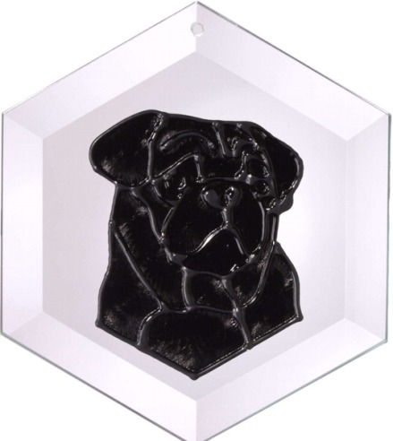 Artistic Gifts Art Glass EW188B Pug Black Hex Suncatcher Glass Made in the USA $18.99
