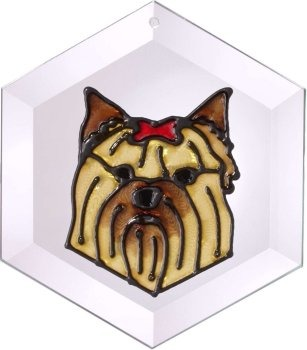 Artistic Gifts Art Glass EW203 Yorkie Yorkshire Terrier Hex Suncatcher