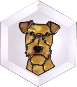 Artistic Gifts Art Glass EW207 Irish Terrier Hex Suncatcher