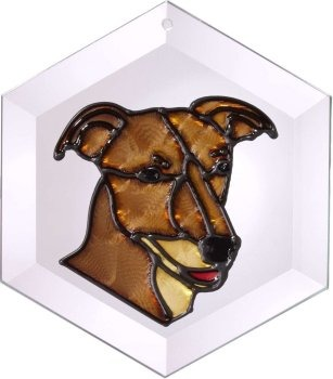 Artistic Gifts Art Glass EW210 Greyhound II Hex Suncatcher Glass Made in the USA $18.99