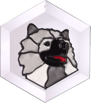Artistic Gifts Art Glass EW211 Keeshond Hex Suncatcher