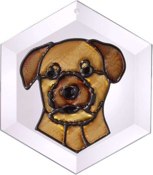 Artistic Gifts Art Glass EW228 Border Terrier Hex Suncatcher Glass Made in the USA $18.99