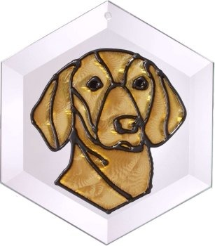 Artistic Gifts Art Glass EW230 Vizsla Hex Suncatcher Glass Made in the USA $18.99