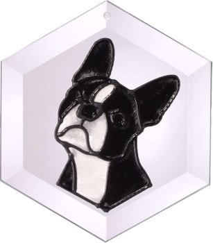 Artistic Gifts Art Glass EW243 Boston Terrier Hex Suncatcher Glass Made in the USA $18.99