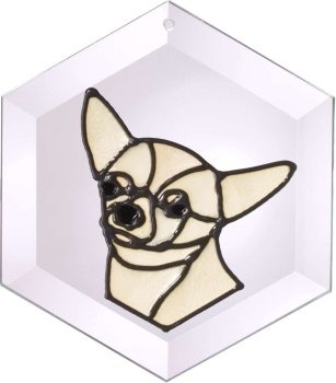 Artistic Gifts Art Glass EW244 Chihuahua Hex Suncatcher Glass Made in the USA $18.99