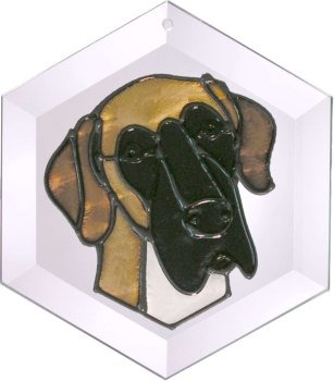 Artistic Gifts Art Glass EW260 Great Dane natural Hex Suncatcher Glass Made in the USA $18.99