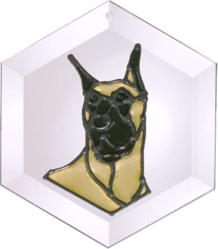 Artistic Gifts Art Glass EW261 Great Dane cropped Hex Suncatcher Glass Made in the USA $18.99
