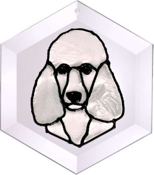 Artistic Gifts Art Glass EW265W Poodle standard white Hex Suncatcher
