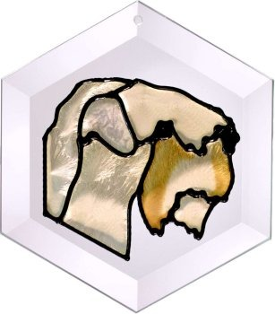 Artistic Gifts Art Glass EW266 Wheaten Terrier Hex Suncatcher