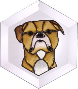 Artistic Gifts Art Glass EW278 Bulldog American Hex Suncatcher Glass Made in the USA $18.99